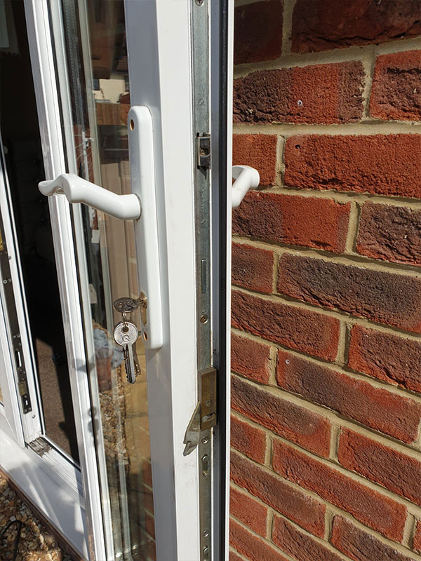 photograph of upvc door lock repair work in southampton uk